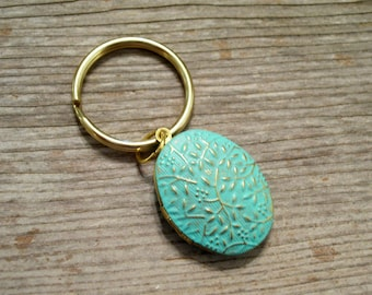 Turquoise Locket Keychain, Floral Vines Locket, Turquoise Floral Locket Key Ring, Embossed Floral Golden Brass Locket, Gold Plated Keyring