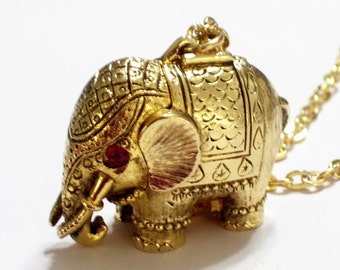 Vintage Elephant Locket Necklace, Vintage Elephant Perfume Locket, Elephant Pendant, Perfume Pendant, Tiny Tusker, Elephant Necklace