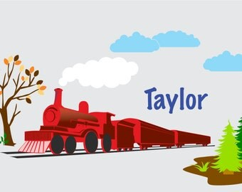 Nursery decals - wall decals - Children's decals - Vinyl wall decals - train decal - tree decal - clouds name