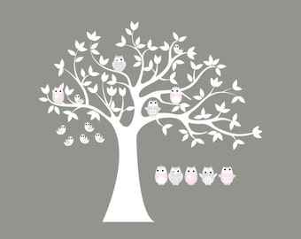 Tree vinyl decal for nursery-Vinyl tree decal-Owl tree decal-5 Free owls