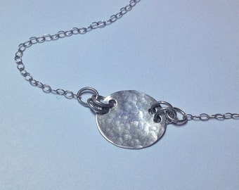 Hammered Circle Disc Necklace, Sterling Silver, Everyday Jewelry