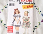 Vintage Simplicity pattern 7422, 1990s girls dress pattern, still in style, dress and pinafore in 6 sizes - 3, 4, 5, 6, 7 & 8