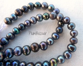 "Large hole pearls, 8"" strand of 8mm round freshwater pearl beads, peacock colors"
