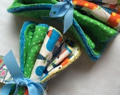 Airplane and Green Polka Dot Burp Cloth Set-   yellow and green and blue baby boy burp cloth gift Set- New Baby Gift