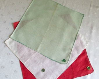 Irish Linen Red White Green NOS Set of Three Hankie Hanky Handkerchief