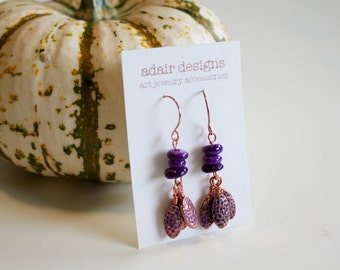 Rose gold & Purple earrings - Textured rose gold metal beads and purple shell beads 2 inches, wire  boho earrings for women