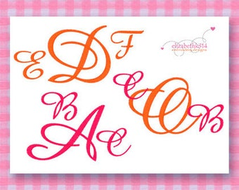Sizes 1 - 1.50 - 2 in - Embroidery monogram font 237 -  Machine embroidery font  - embroidery alphabet - Instant Download