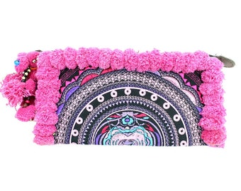 Vibrant Pinks In-House Embroidered Clutch With Pom Pom Handmade Thailand (BG289WP-PICAT8)