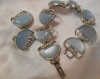 Coro Powder Blue Thermoset Bracelet and Clip Earrings Set in Silver