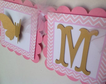Pink and Gold Butterfly Name Banner Chevron Birthday Baby Shower