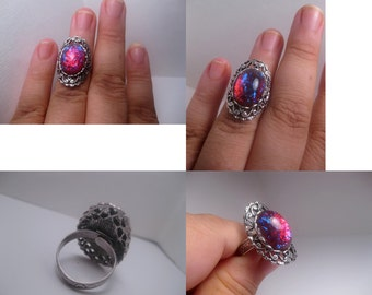 Dragons Breath Ring Long Oval Style - Opal Ring