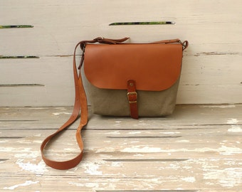 Free Express Shipping - Green Mini Waterproof  Canvas  Bag - Brown Adjustable Leather Single Strap Shoulder bag / Small Shoulder Bag