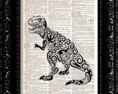 Sweet Fancy Art Deco Dinosaur - Scroll Design - Vintage Dictionary Art Print Vintage Book Print Page Art Upcycled Vintage Book Art