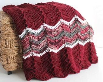 Afghan - Ripple Crochet Blanket - Burgundy