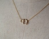Pavé Two Circles Necklace in Gold, 14k Gold plated, Dainty Necklace, Tiny Round Necklace