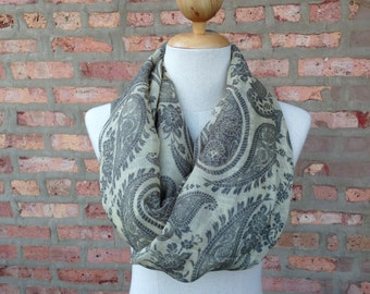 Yellow Scarf with Flower Paisley Print, Infinity Scarf, Spring Scarf, Women's Scarf