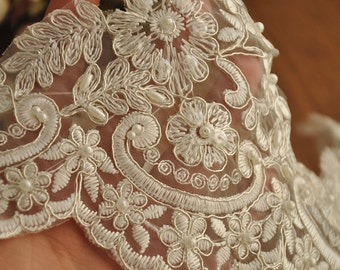 Beaded Alencon lace trim in ivory silver for bridal veil, wedding gown, garters, costumes