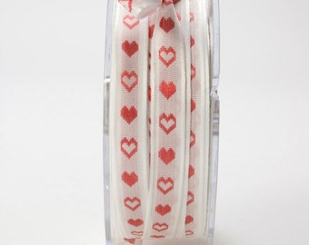 3/8 Inch Solid Red Hearts Ribbon by the Yard