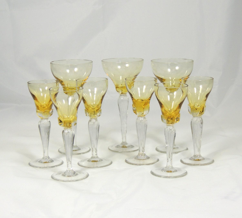 amber long stem wine glasses 9 glasses by simplycharmingukshop. Black Bedroom Furniture Sets. Home Design Ideas