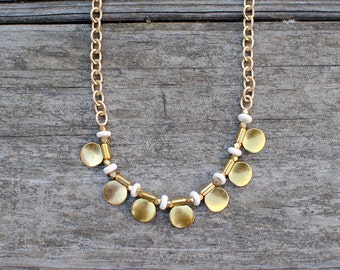 Gold Disc Statement Necklace