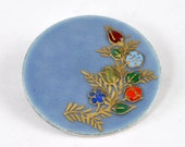 Vintage Blue Enamel Pin  with Flowers - Circle Pin / Brooch - 1950's - Jacket Lapel Pin - Sterling Silver Backed Pin - Hanukkah Gift for Her