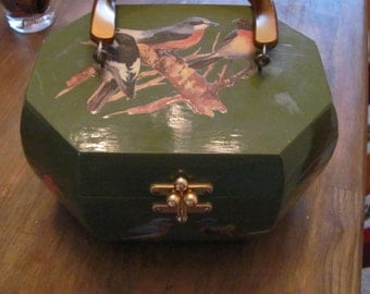 Vintage Box Purse With Lucite Handle And Decoupaged Birds Needs Lining
