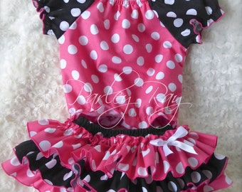 Parley Ray Pink Minnie Mouse Polka Dots All Around Ruffle Skirt and Peasant Style Blouse Ruffled Baby Bloomers/ Diaper Cover / Disneyland