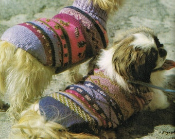 PDF Knitting Pattern - Fair Isle Dog Sweater/Jacket  - Instant Download