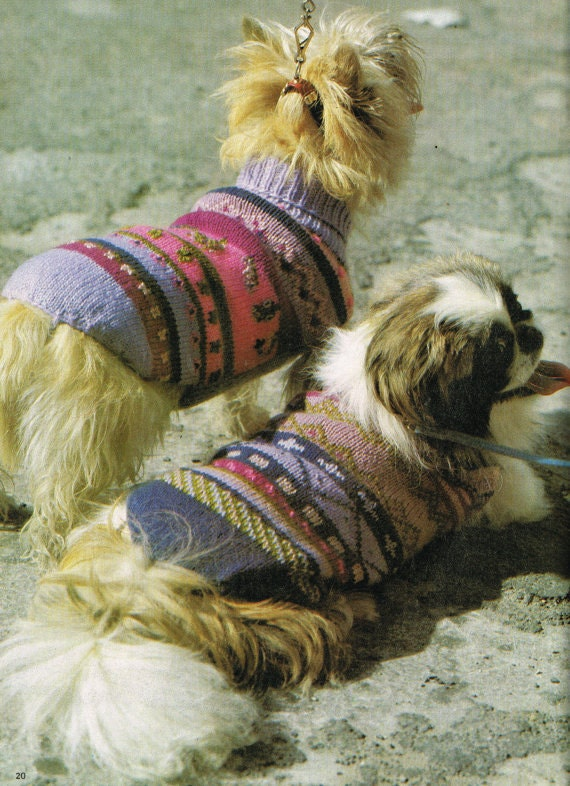 PDF Knitting Pattern Fair Isle Dog Sweater/Jacket Instant