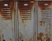 Industrial Metal Storage Lockers Rusted Gray Set of 3 1940s Era Metal School Lockers Antique Furniture Storage Aged Patina Urban Coat Locker