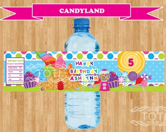 CandyLand | Personalized Water Bottle Labels [DIGITAL FILE ONLY]