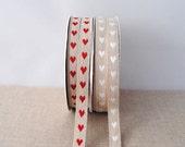 LINEN ribbon with hearts, 1m (1.1yard)