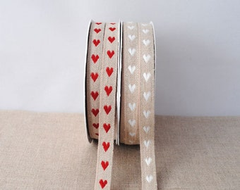 LINEN ribbon with hearts, 1m (1.1yard)