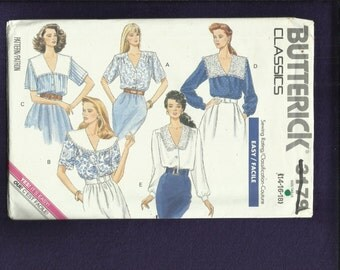 Vintage 1989 Butterick 3179 Romatic Blouse with Collar Variations Size 14..16..18 UNCUT