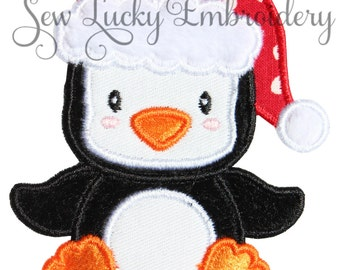 Santa Penguin Appliqued Embroidered Patch, Sew or Iron on