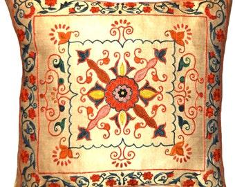 Handmade Suzani Silk Pillow Cover ssp107, Suzani Pillow, Uzbek Suzani, Suzani Throw, Suzani, Decorative pillows, Accent pillows