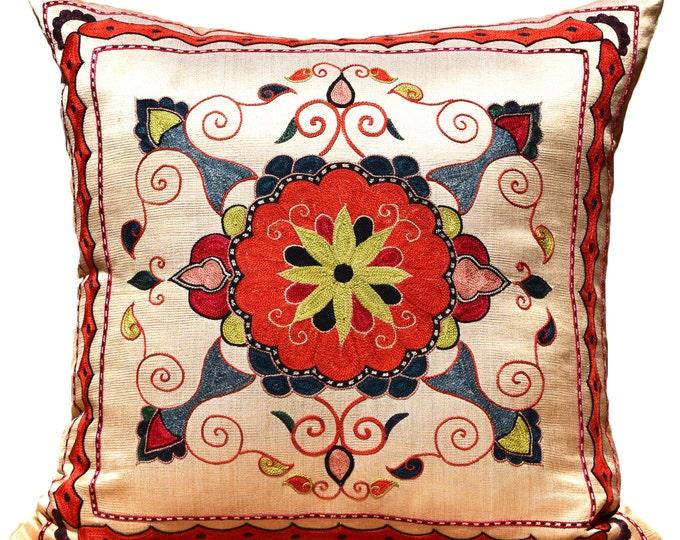 Handmade Suzani Silk Pillow Cover ssp2, Suzani Pillow, Uzbek Suzani, Suzani Throw, Suzani, Decorative pillows, Accent pillows