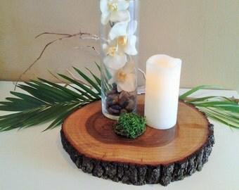 """TREASURY ITEM - 10""""  Rustic wood tree slice - Centerpiece - Home decor - Tree slices - Rustic wedding decor - Tray"""