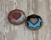 Czech Glass 21mm Coin Heart Bead Carved Pink White Purple Blue Picasso Mix (2)