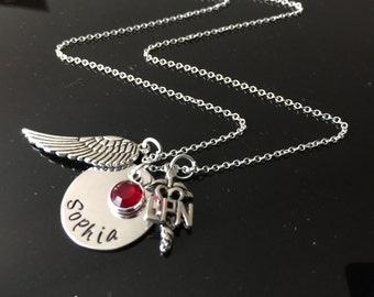 Nurse LPN/ RN Medical Practitioner Jewelry, Hand Stamped Nurse Necklace,  - Nurses are Angels,Nurse Charm Gift w/ Necklace