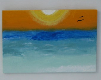 SALE-Abstract  Painting on Wood, Wall Art, Landscape Painting
