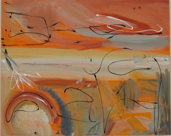 Abstract Painting, Large Painting,Orange Painting, Wall Art,Original painting,Acrylic