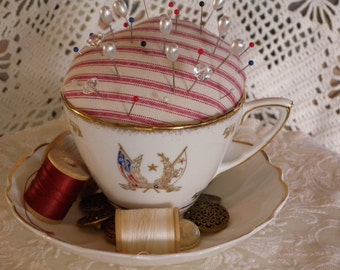 Vintage Teacup and Saucer Re-Purposed Pin Cushion Sewing Room Decor ~ Ring Bearer Pillow