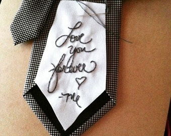 Groom's tie label / custom hand embroidered with your handwriting / love note / gifts for groom