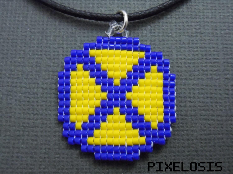Glass Bead X Men Emblem Necklace Pixelated Marvel ic
