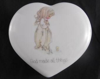 Precious Moments Heart Shaped Porcelain Trinket Box God Made All Things From 1984 Enesco