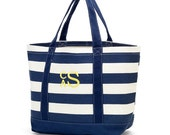 Personalized Canvas Tote Bag Large Navy Striped