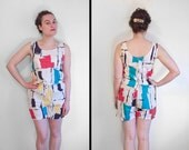 Shorts Crop Top 2 Piece 80s Abstract S M Red Turquoise Black Yellow White