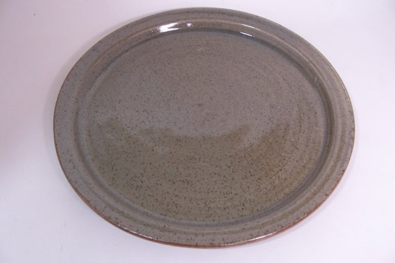 Hand Thrown Dinner Plate With Raised Side Glazed In Celadon