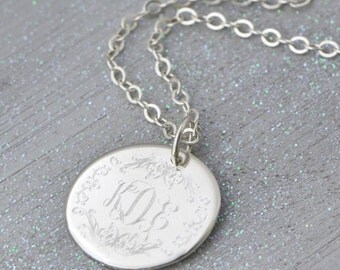 Monogram Sterling Silver Pendant - Personalized Pendant - Engraved Pendant - Personalized Necklace - Monogram Pendant